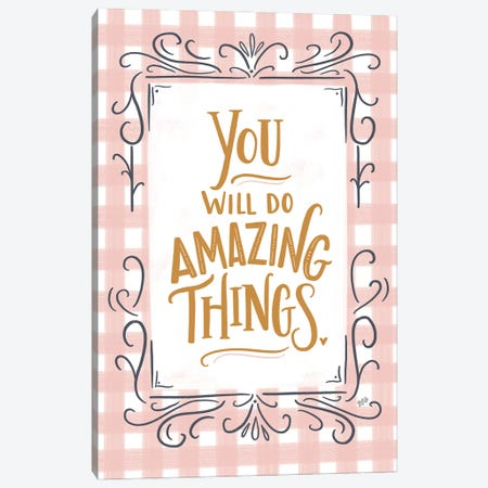 You Will Do Amazing Things - Pink Plaid Canvas Print #LLV226} by Lily & Val Canvas Print