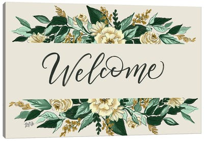 Floral Welcome Canvas Art Print