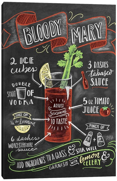 Bloody Mary Recipe Canvas Art Print