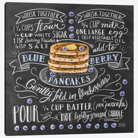 Blueberry Pancakes Recipe 3-Piece Canvas #LLV29} by Lily & Val Canvas Art