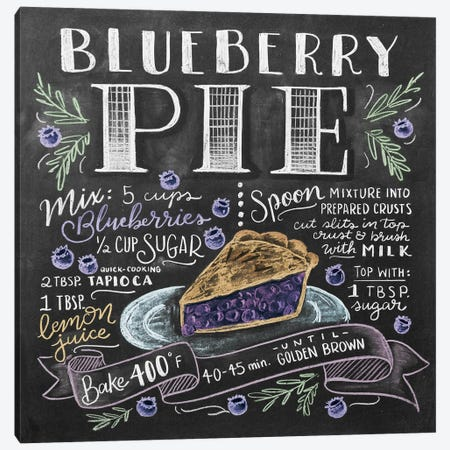 Blueberry Pie Recipe Canvas Print #LLV30} by Lily & Val Canvas Print