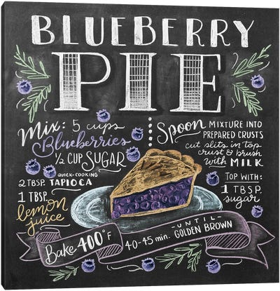 Blueberry Pie Recipe Canvas Art Print