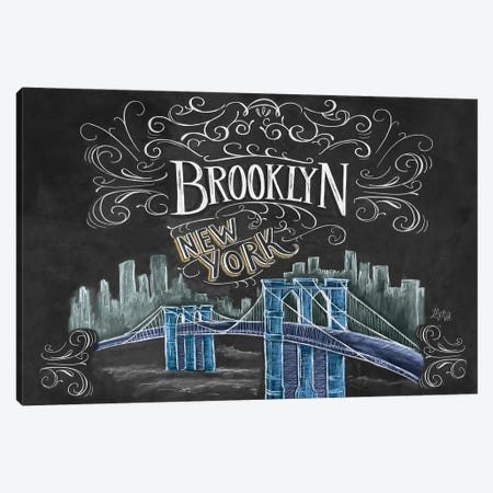 Brooklyn Bridge Ny Color Canvas Print #LLV34} by Lily & Val Canvas Art