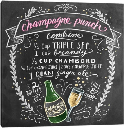 Champagne Punch Recipe Canvas Art Print