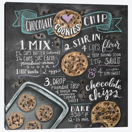 Chocolate Chip Cookies Recipe Canvas Print #LLV44} by Lily & Val Art Print