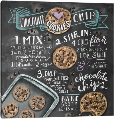 Chocolate Chip Cookies Recipe Canvas Art Print