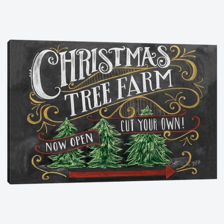 Christmas Tree Farm Canvas Print #LLV46} by Lily & Val Canvas Print