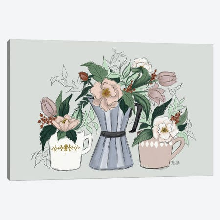 Coffee Florals Canvas Print #LLV50} by Lily & Val Canvas Art Print