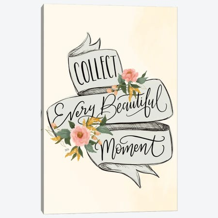 Collect Beautiful Moments - Blue Banner Canvas Print #LLV52} by Lily & Val Canvas Print