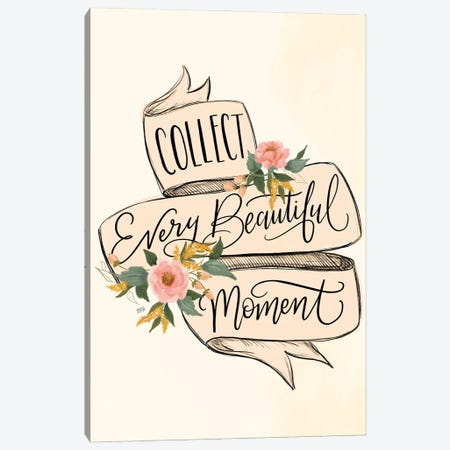 Collect Beautiful Moments - Pink Banner Canvas Print #LLV53} by Lily & Val Canvas Print