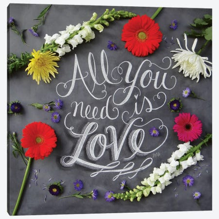 All You Need Is Love Florals Canvas Print #LLV6} by Lily & Val Canvas Art Print