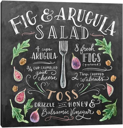 Fig And Arugula Salad Recipe Canvas Art Print