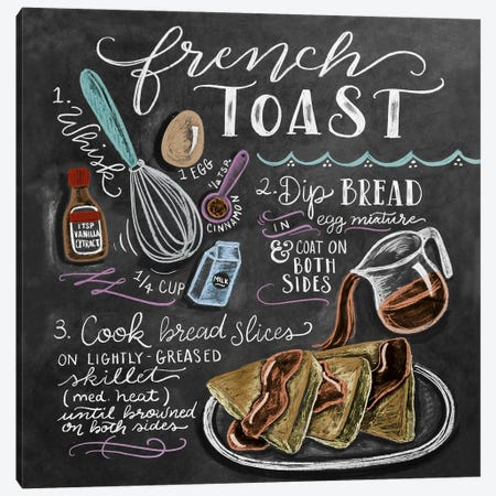 French Toast Recipe Canvas Print #LLV76} by Lily & Val Canvas Wall Art