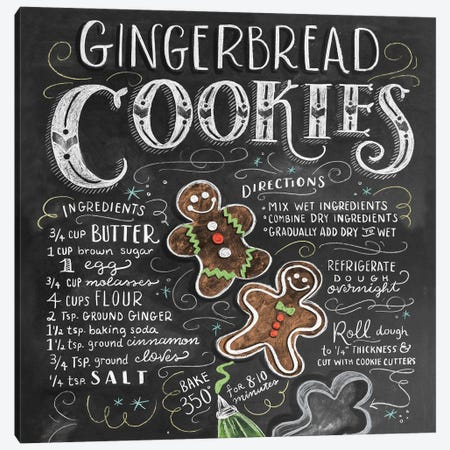 Gingerbread Cookies Recipe Canvas Print #LLV79} by Lily & Val Canvas Print