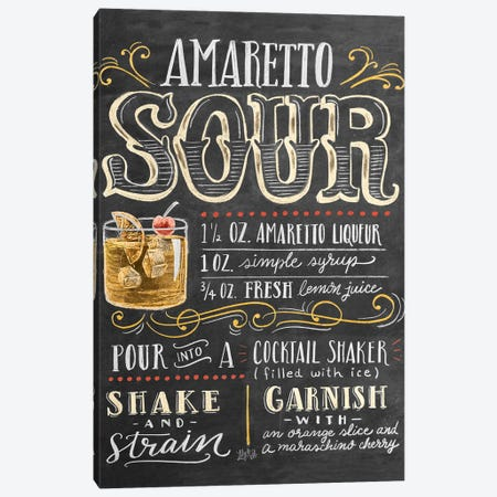 Amaretto Sour Recipe Canvas Print #LLV7} by Lily & Val Canvas Art Print