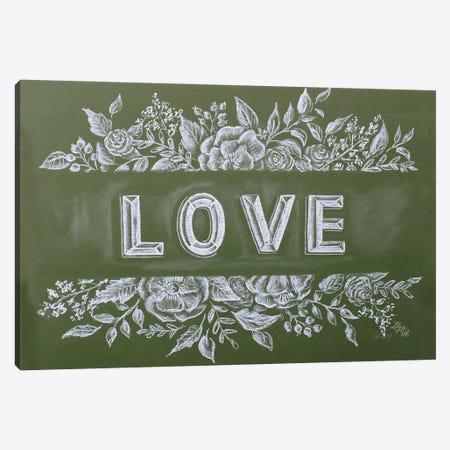 Green Chalk Love Canvas Print #LLV84} by Lily & Val Art Print