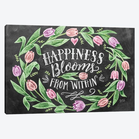 Happiness Blooms From Within Canvas Print #LLV86} by Lily & Val Art Print