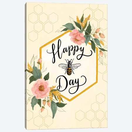 Happy Bee Day Canvas Print #LLV87} by Lily & Val Canvas Art Print