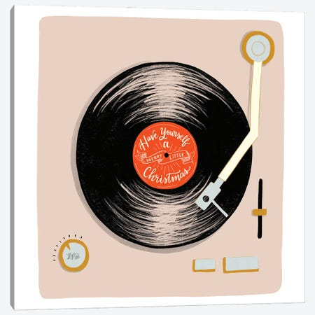 Have Yourself A Merry Little Christmas Record Player Canvas Print #LLV90} by Lily & Val Canvas Print