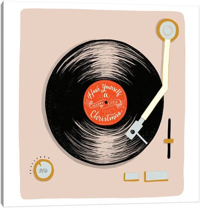 Have Yourself A Merry Little Christmas Record Player Canvas Art Print