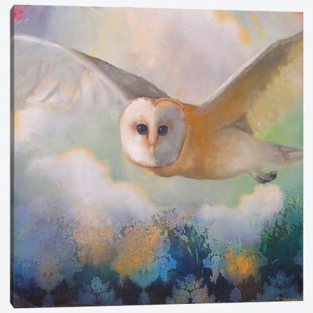 Barn Owl In Flight Canvas Print #LLX15} by Lisa Lamoreaux Canvas Art