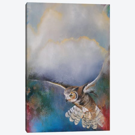 Owl Flying Canvas Print #LLX17} by Lisa Lamoreaux Canvas Wall Art