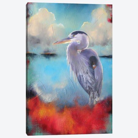Heron Wading 3-Piece Canvas #LLX26} by Lisa Lamoreaux Canvas Print