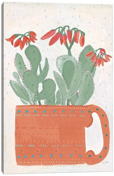 Coral Cuppa Neutral Canvas Art Print