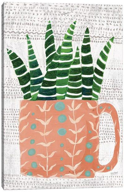Succulent Cup Neutral Canvas Art Print