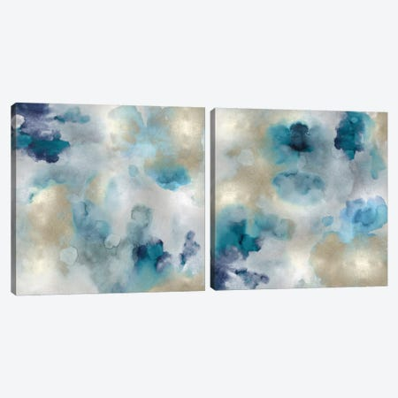 Aqua Movement Diptych I Canvas Print Set #LMI2HSET001} by Lauren Mitchell Canvas Print