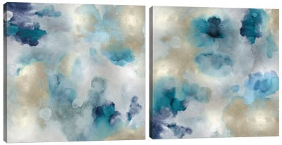 Aqua Movement Diptych I Canvas Art Print