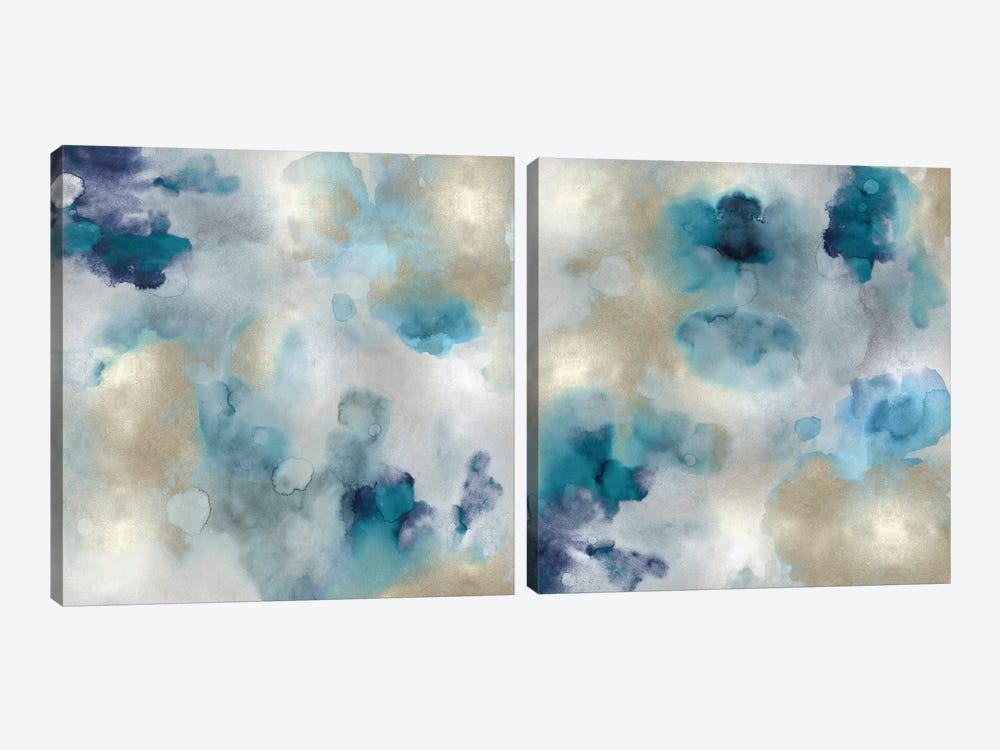 Aqua Movement Diptych I 2-piece Canvas Art
