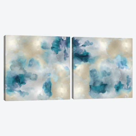 Aqua Movement Diptych II Canvas Print Set #LMI2HSET002} by Lauren Mitchell Canvas Print