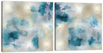 Aqua Movement Diptych II Canvas Art Print