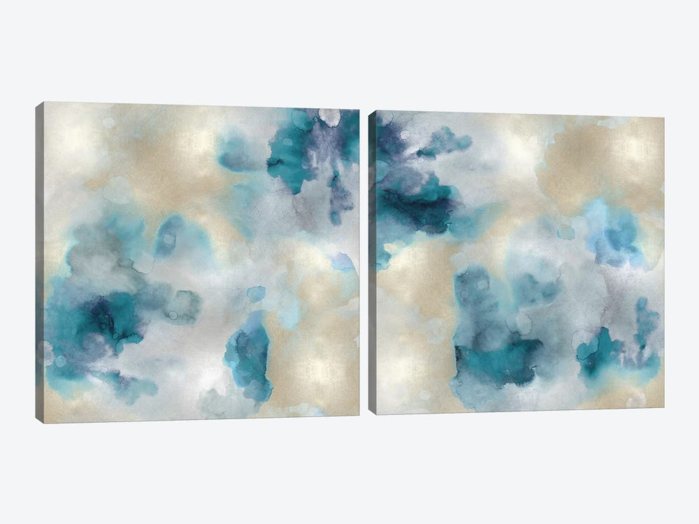 Aqua Movement Diptych II by Lauren Mitchell 2-piece Art Print