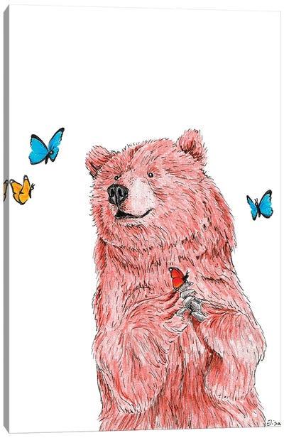 Bear With Butterflies Canvas Art Print