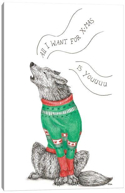 Christmas Wolf Canvas Art Print