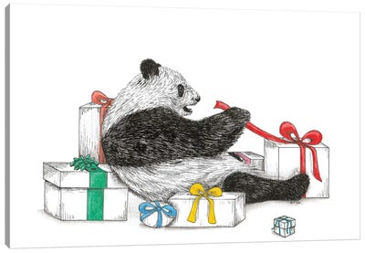 Panda With Presents Canvas Art Print