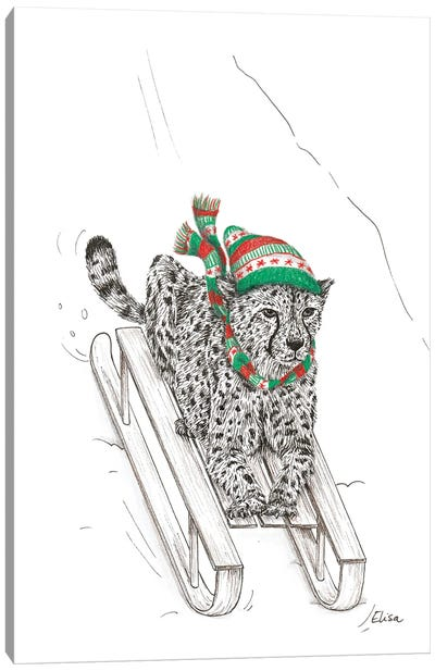 Sledging Cheetah Canvas Art Print
