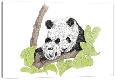 Panda With Child Canvas Art Print