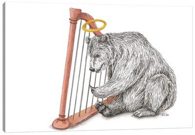 Harpplaying Bear Canvas Art Print