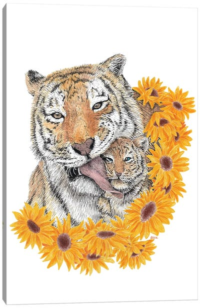 Tiger With Little One Canvas Art Print