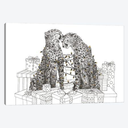 Christmas Cheetahs Canvas Print #LMS3} by Elisa Lemmens Canvas Artwork