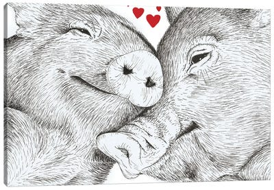 Pigs In Love Canvas Art Print