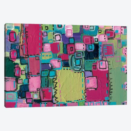 Pink Patchwork Canvas Print #LNA19} by Leah Nadeau Canvas Art Print