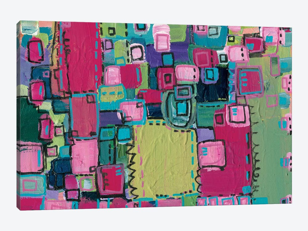 Pink Patchwork by Leah Nadeau 1-piece Canvas Wall Art