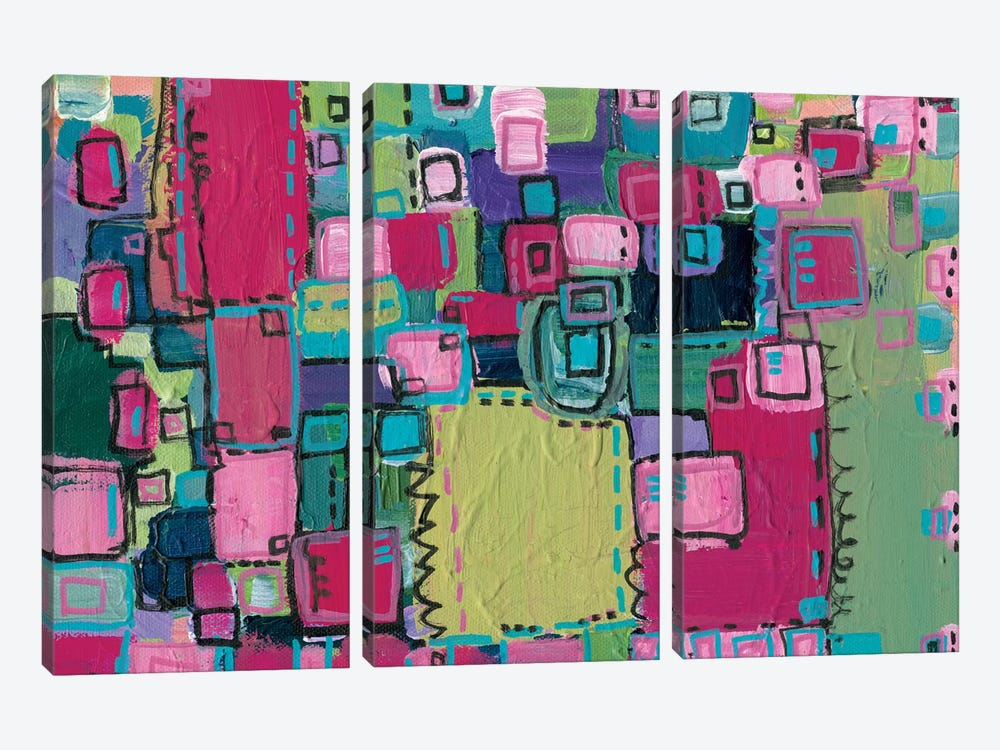 Pink Patchwork by Leah Nadeau 3-piece Canvas Artwork