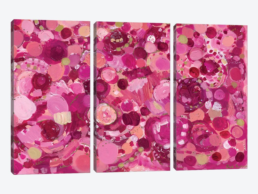 Rose Colored Joy by Leah Nadeau 3-piece Canvas Artwork