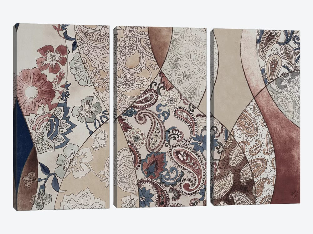 Neutral Paisley Coalescence by Lanie Loreth 3-piece Canvas Wall Art