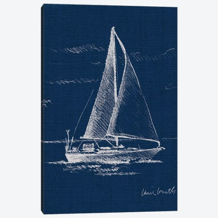 Sailboat on Blue Burlap I Canvas Print #LNL166} by Lanie Loreth Canvas Print